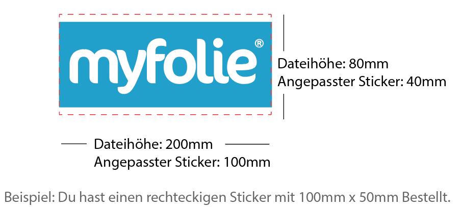 Beispiel 100x50mm Sticker rechteckig