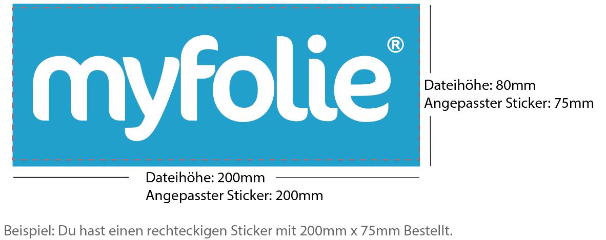 Beispiel 200x75mm Sticker rechteckig