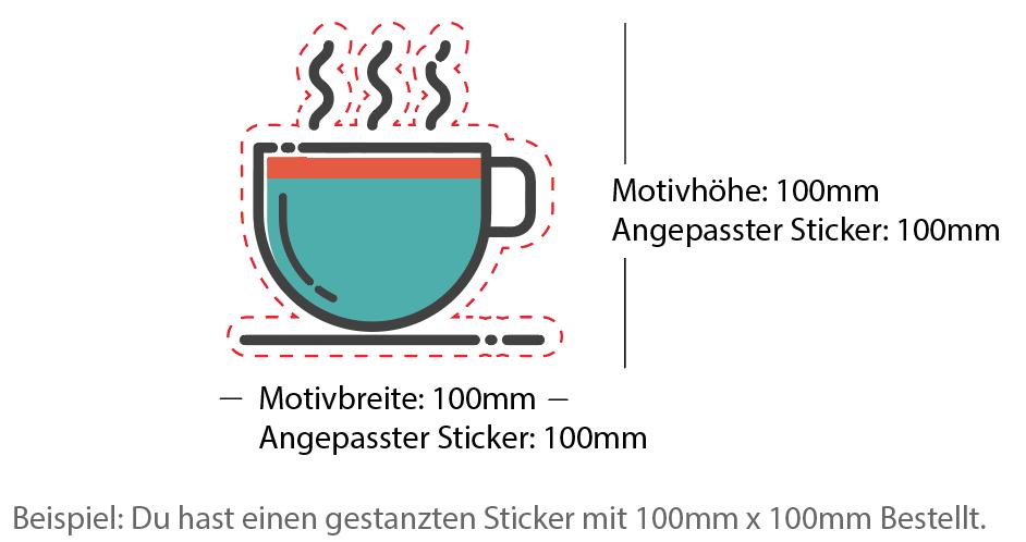 Beispiel 100x75mm Sticker gestanzt